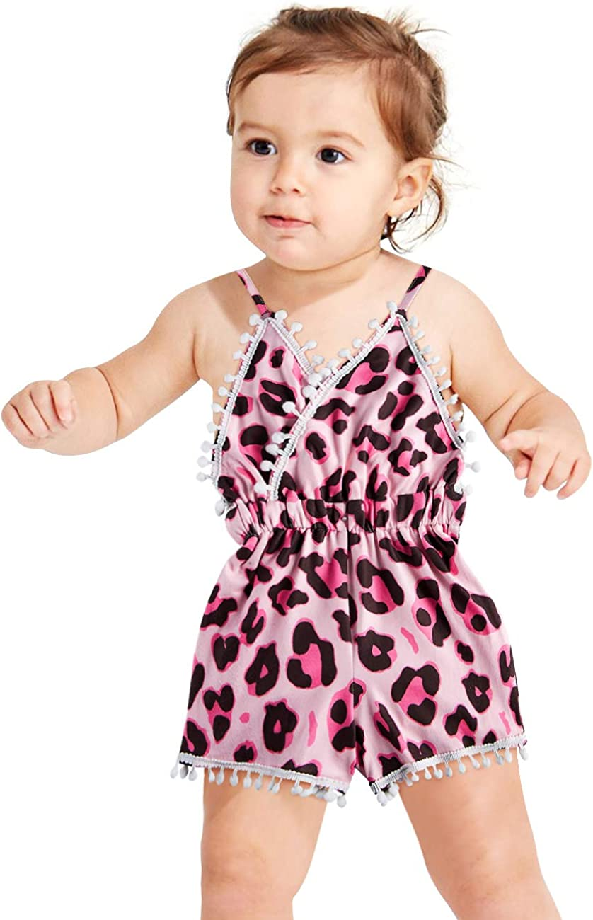 TUONROAD Toddler Baby Girls Romper Pompom Tassels Trim Bodysuit Strap Backless Jumpsuit Outfits Set with Headband 6M-3T