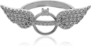 DAR Band Ring for Women 18K White Gold Plated - Size 8 , 2724649527299