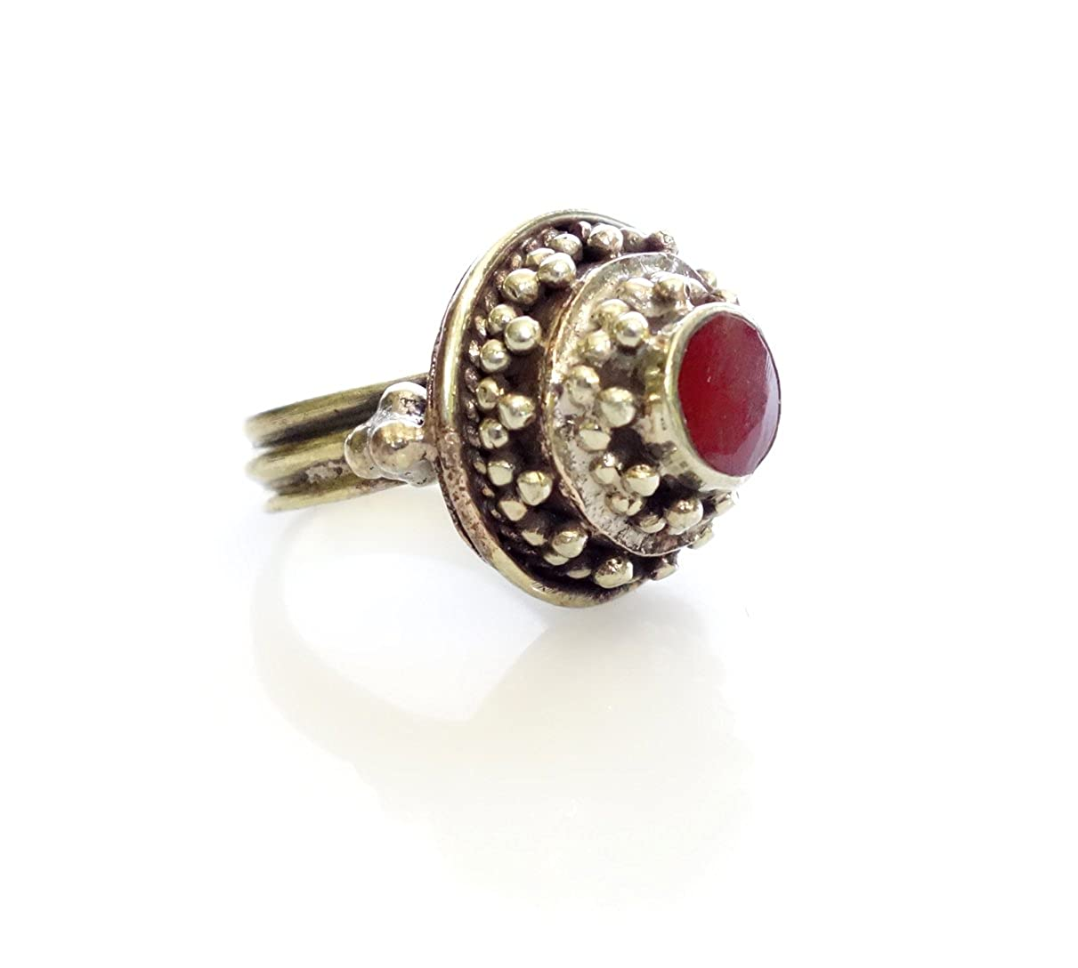 Tibetan Silver BEAUTIFUL FINE FILIGREE ENGRAVING CORAL RING HANDMADE IN OXIDIZED SILVER PLATED RING WOMEN YOUNG GIRLS