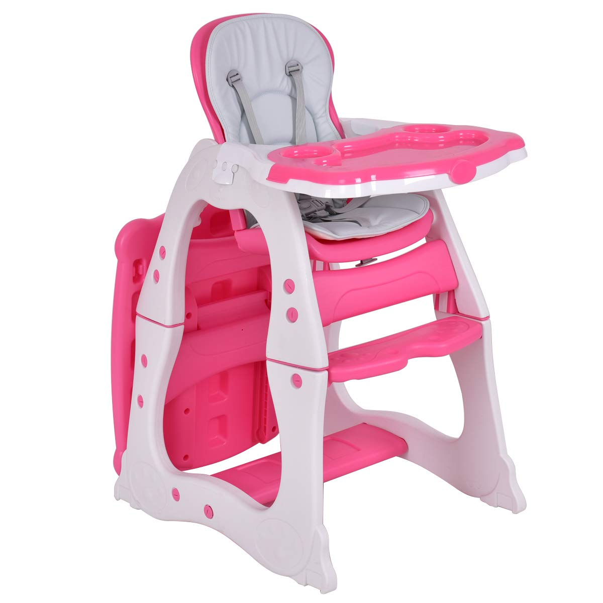 Costzon 3 in 1 Baby High Chair Desk Convertible Play Table Conversion Seat Booster (Pink)