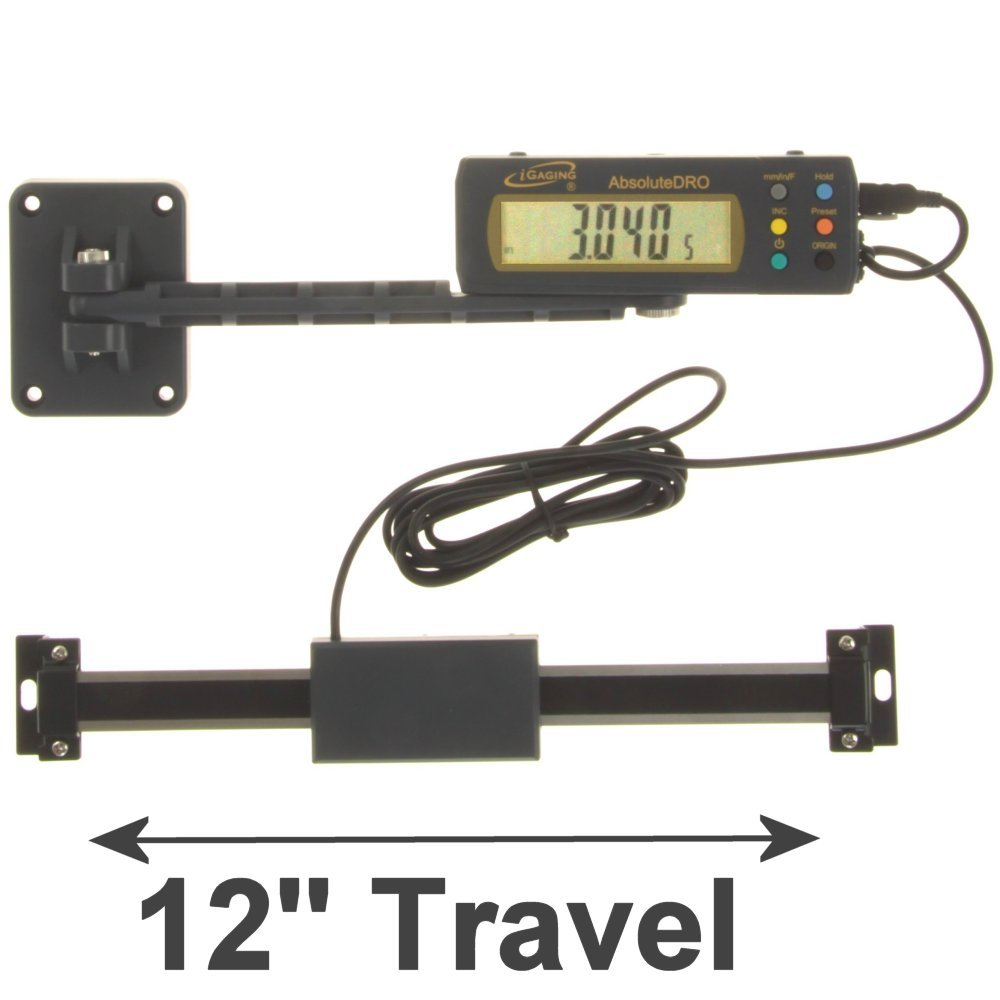 iGaging 12'' Absolute Digital Readout DRO Stainless Steel Super High Accuracy w/Remote Reading
