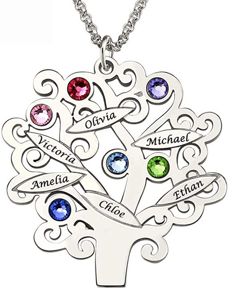 Collar Personalizado de Madre del árbol Genealógico, Nombre Grabado Encanto Collar Colgante con 6 Piedra del Zodíaco Collar de árbol de la Vida Personalizado para Mujeres