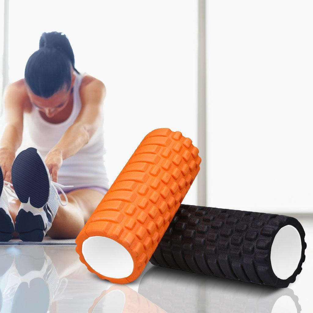 "Enkeeo Foam Roller 13"" × 6"" EVA with Grid Design Muscle Rollers for Deep Tissue Myofascial Release, Sports Massage and Recovery, Trigger Point Therapy, Pilates & Yoga (Black/Blue/Orange/Pink)"