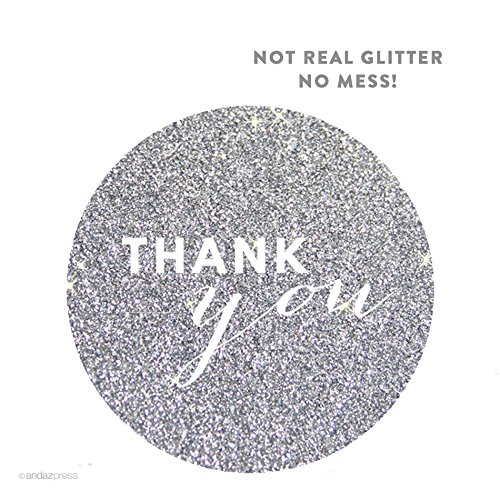 Andaz Press Circle Labels, Chic Style, Thank You, Printed Silver Glitter, 40-Pack