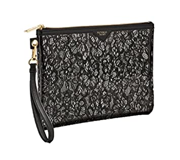 d559baaaf20d1f Image Unavailable. Image not available for. Color: Victoria's Secret Black  Floral Lace Large Beauty Cosmetic Wristlet Bag ...