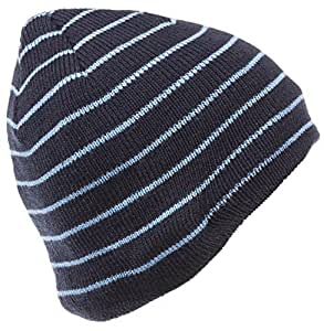 KitSound Audio Basic Beanie with In-Line Mic Compatible with Smartphones, Tablets and MP3 Devices - Blue Stripe by Kitsound