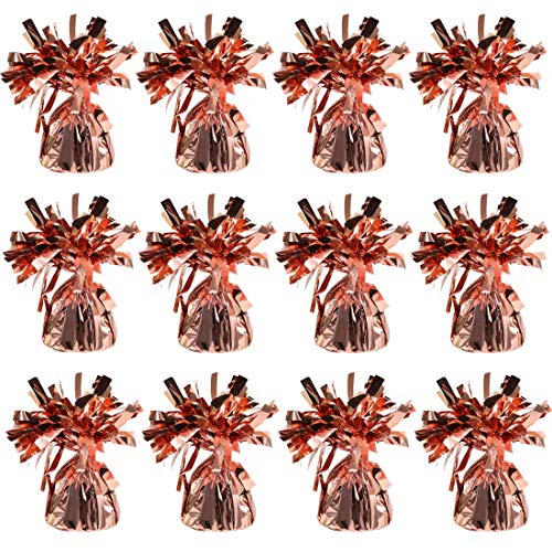 Balloons And Weights (UNIQOOO 12Pcs Metallic Rose Gold Solid Balloon Weights Pack,135g, 5.5 Inch Tall, 5 Oz Each, for Wedding,Baby Showers,Carnival, Christmas, Holidays, Kids Birthday Party Favor Decoration Supplies)