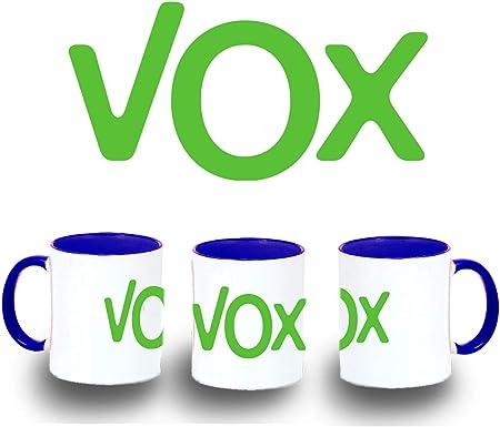 MERCHANDMANIA Taza Azul Logo Partido VOX Color mug: Amazon.es: Deportes y aire libre