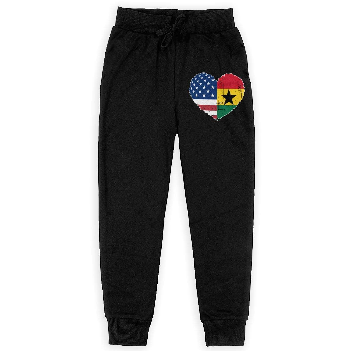 Girls Trousers Boy for Teenager Boys WYZVK22 Ghana USA Flag Heart Soft//Cozy Sweatpants