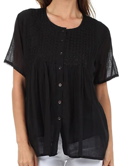 3d478a29 Sakkas 81TV Button Down Embroidered Short Sleeve Semi-Sheer Gauzy Cotton  Top/Blouse -