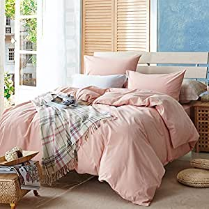 TheFit Paisley Textile Bedding for Adult U621 Pink Classic Duvet Cover Set 100% Washed Cotton, Twin Queen King Set, 3-4 Pieces (Twin)
