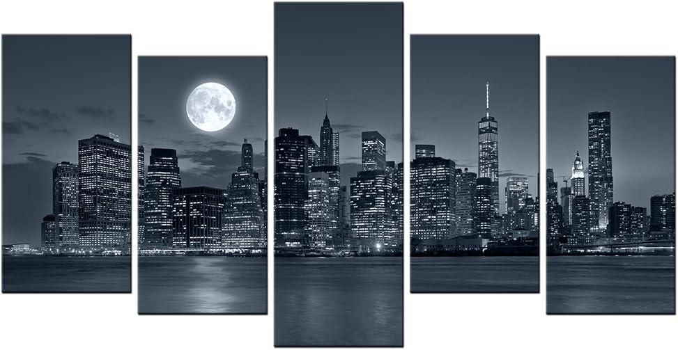 VVOVV Wall Decor - Architecture Painting Manhattan Cityscape Skyscrapers Moon Night Scene Picture Wall Art Canvas Empire State Building Poster Print City Landscape Artwork (Medium)