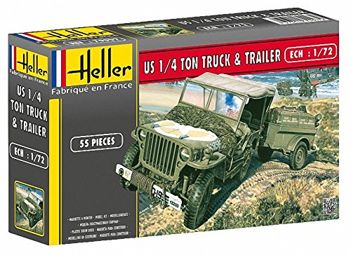 (Heller US 1/4 Ton Truck and Trailer Military Land Vehicle Model Building Kit)