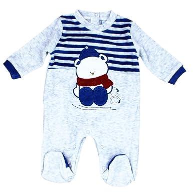 Pelele para bebé de manga larga,,cierre con corchetes en la entrepierna y detras