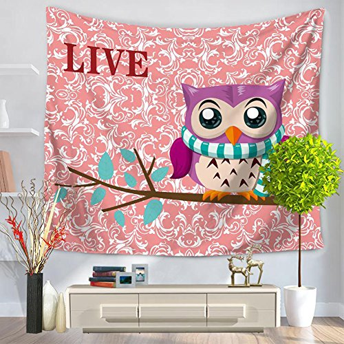 (ChezMax Owl Pattern Square Polyester Tapestry Multi Purpose Decorative Wall Hanging Mural Art for Bedroom Pink 59