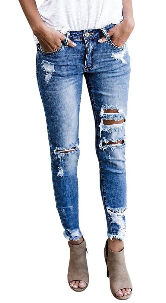 bluee3 Lynwitkui Womens Destroyed Ripped Holes Skinny Jeans Leggings Mid Rise Stretchy Straight Leg Slim Fit Denim Pants