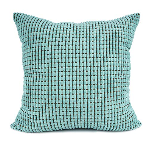 (YOUR SMILE Cozy Bolster Pillow Cover Case for Couch Sofa Bed Comfortable Supersoft Corduroy Corn Striped Both Sides 22 X 22 Inches,Teal)