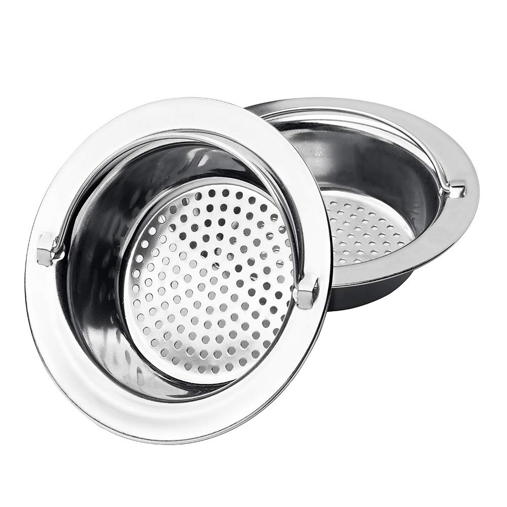 Uneslyck 2PCs Updated Kitchen Sink Strainer with Handle, Anti-Clogging Stainless Steel Sink Disposal Stopper, Matt Polished Drains Sieve with Perforated Basket – Large Wide Rim 4.3