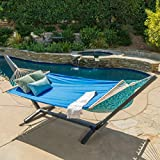 Aspen Outdoor Light Blue Water Resistant Hammock with Grey Larch Wood Frame by Christopher Knight Home