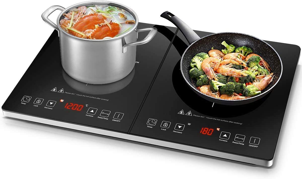 Electric Cooktop AMZCHEF Double Induction Cooker with 2 Burners, Ultra-thin Body, Independent Control,10 Temperature Levels, Multiple Power Levels, 3600W, 3-hour Timer,Safety Lock,Fashion Design