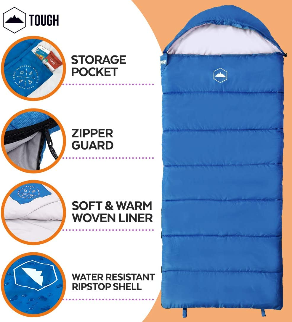 Childrens Sleepovers /& Nap Time Tough Outdoors Kids Sleeping Bag for Girls Boys 3-Season Perfect for Warm /& Cool Weather Camping Youth /& Teens Fits Kids up to 51 Lightweight /& Compact