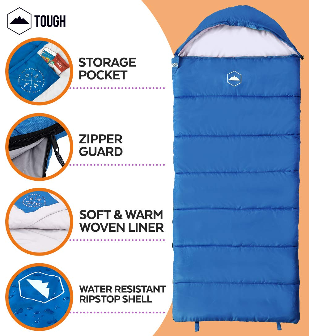 """Tough Outdoors Kids Sleeping Bag for Girls, Boys, Youth & Teens - Perfect for Warm & Cool Weather Camping, Children's Sleepovers & Nap Time - 3-Season, Lightweight & Compact - Fits Kids up to 5'1"""" 6"""