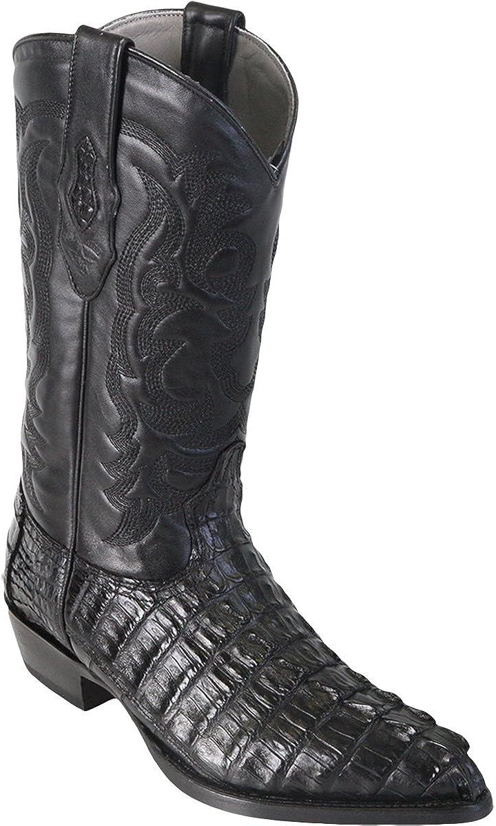Los Altos Men's J-Toe Genuine Leather Caiman Tail Skin Western Boots