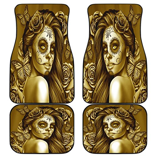 DealioHound Calavera (Day of The Dead/Dia De Los Muertos) Halloween Design #2 (Hazel) Set of 4 Car Floor Mats (2 x Front, 2 x Back) -