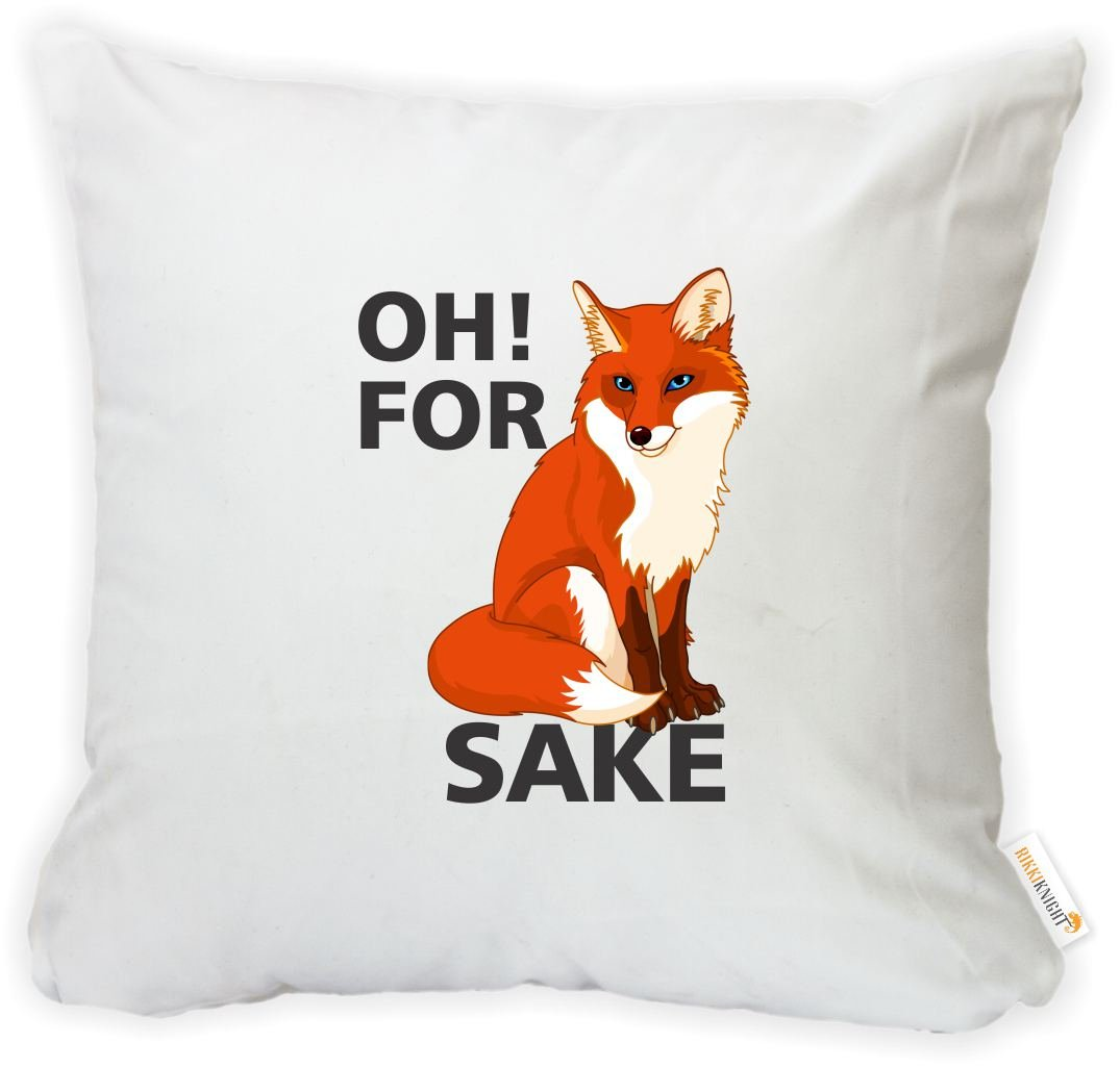 Rikki Knight 16 x 16 inch Rikki KnightOH! for Fox's Sake Microfiber Throw Pillow Cushion Square with Hidden Zipper (Insert Included) - Printed in The USA