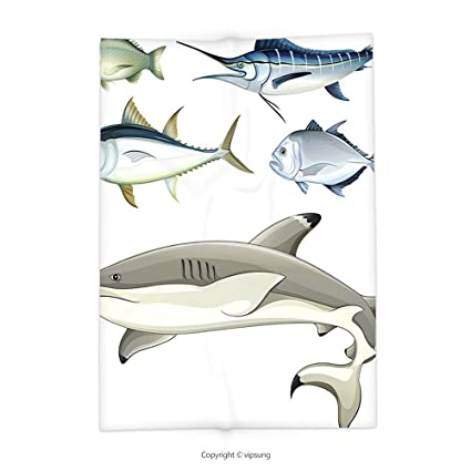 616d828577 vipsung Throw Blanket with Ocean Animal Decor Various Fish Predators with  Swordfish Piranha Chordate Aquatic Image