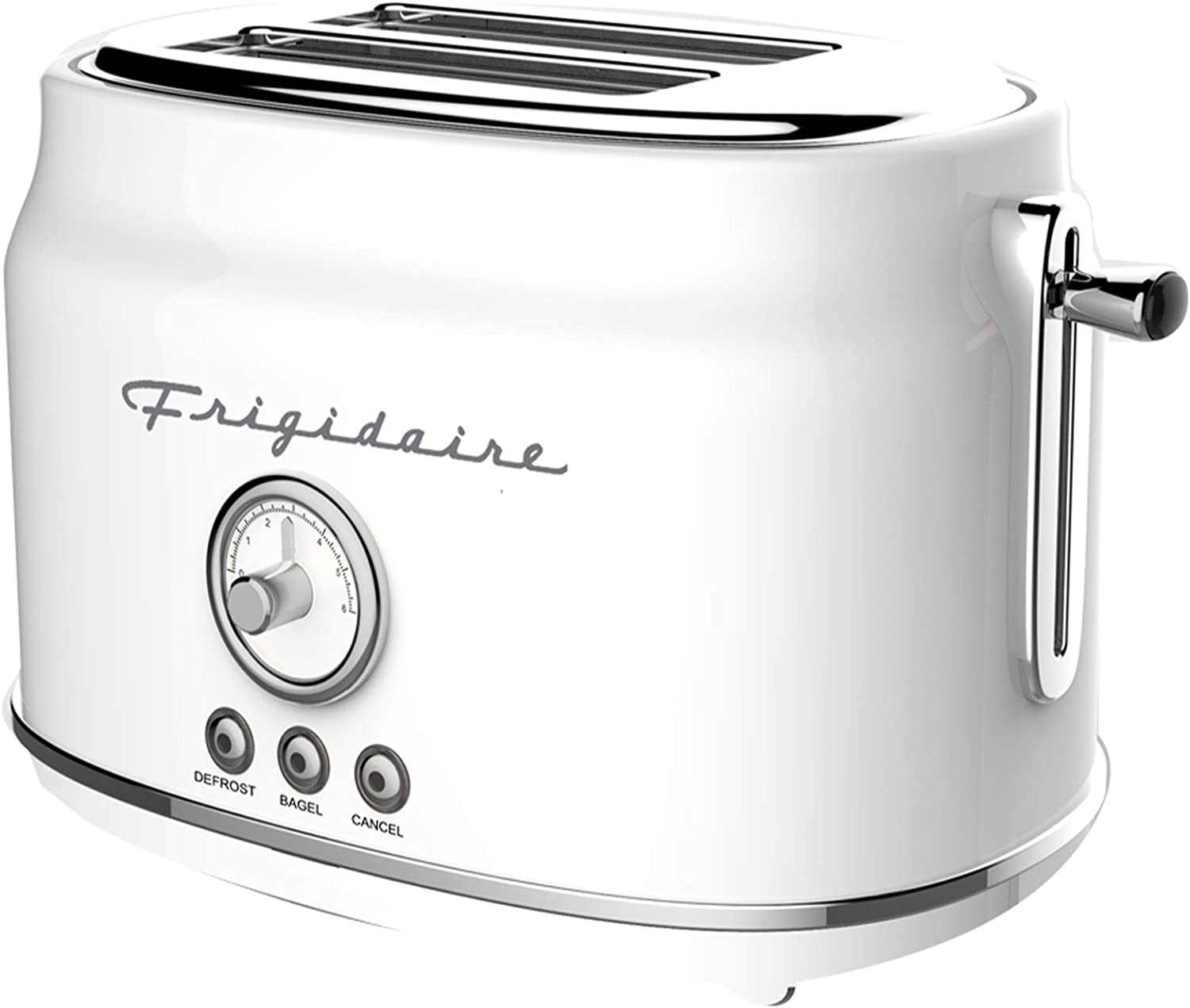 Frigidaire ETO102-WHITE Retro Wide 2-Slice Toaster Perfect for Bread, English Muffins, Bagels, 5 Browning Levels, 900w, WHITE