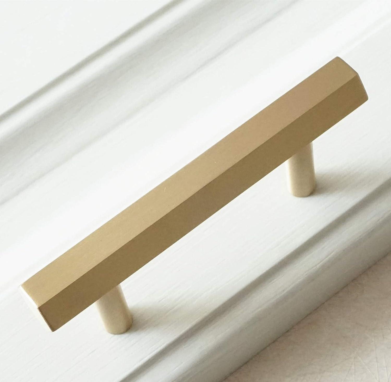 LBFEEL Tiradores hexagonales de latón cepillado para gabinete, de 6,35 cm, 9,5 cm, 5,0 pulgadas, tiradores de cajón, tiradores dorados para cajones, 64 96 128 mm: Amazon.es: Bricolaje y herramientas