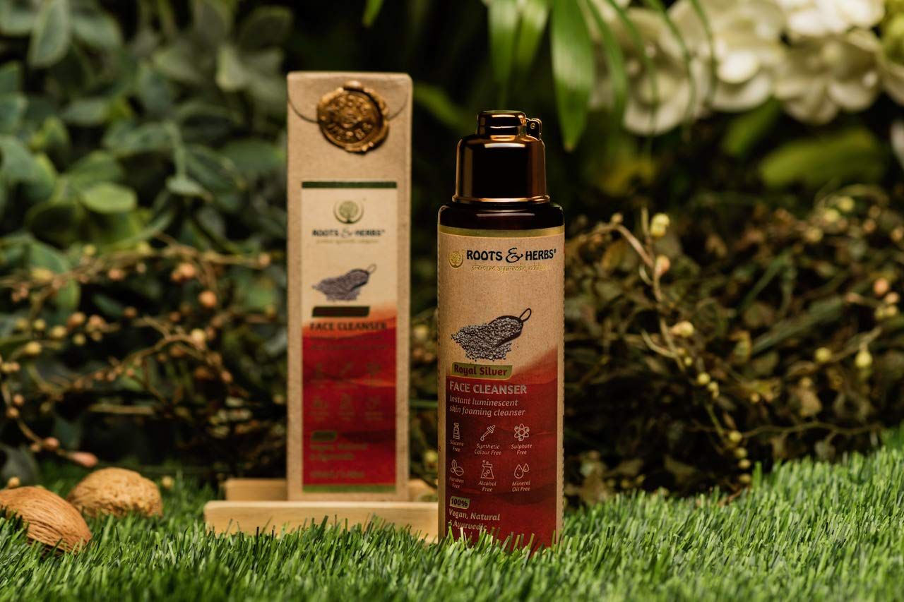 Roots & Herbs Ayurvedic Aromatherapy Vegan Royal Silver Indulgence Face Wash Cleanser for Men and Women