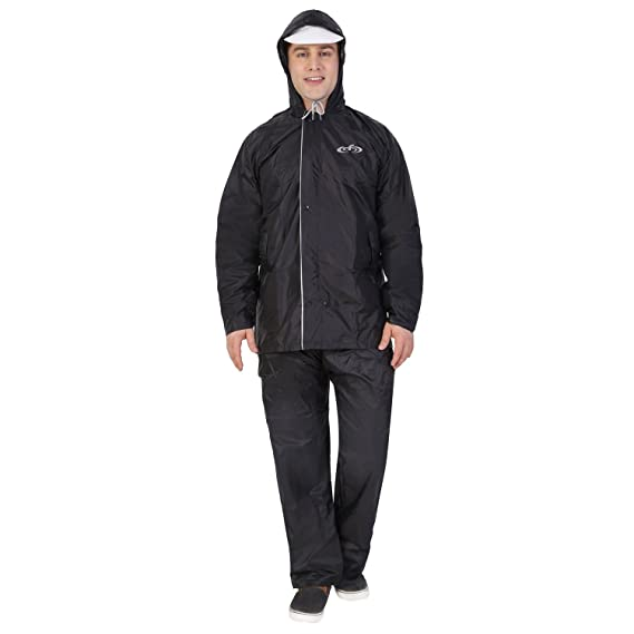 55de98577241 ZEEL Men s Reversible Black   Silver PVC Raincoat  Amazon.in ...