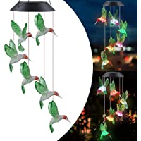 Color Changing Wind Chime Solar Powered Hummingbird Wind Chime Lights Wind Mobile Portable Waterproof Outdoor Decorative…