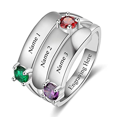 bc13cfb0ea56d JewelOra Personalized Stackable Mom Rings 3 Simulated Birthstone Name Rings  for Women Engraveable Grandmother Ring