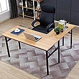 """Need 55"""" x 55"""" L-Shaped Folding Computer Desk, One-Step Assembly - Large L Desk Home Office Desk Workstation Desk, Teak&Black AC11BB-CA"""