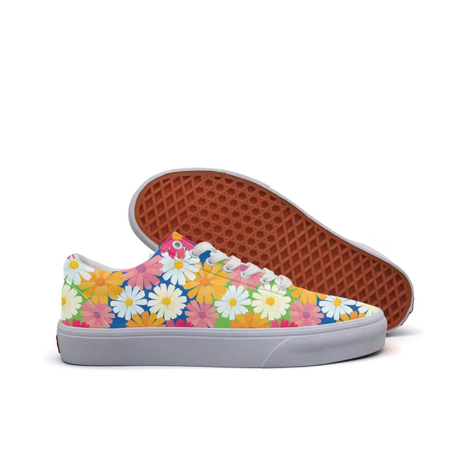 Lingxxshow Textures Daisy Flowers Chrysanthemum Floral Low Top Canvas Sneakers Skateboard Shoes Slip on Lace-up Fashion Sneaker Shoe Women