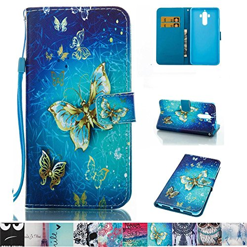 Huawei Mate 9 Case, Firefish Slim PU Leather Wallet Dual Layer [Card Slots] Kickstand Magnetic Clip Non-Slip Bumper Shell Perfect Fit for Huawei Mate 9 -Butterfly