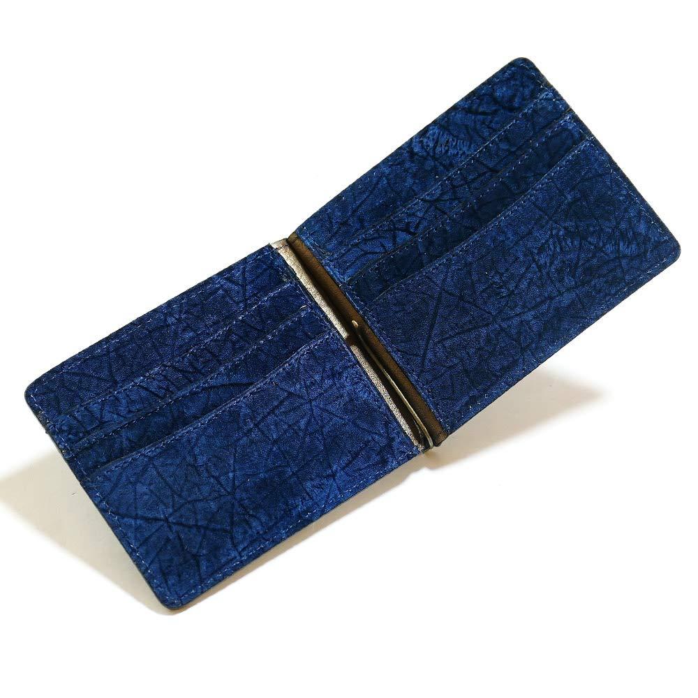 AIZOME-HIPP1040 札ばさみ マネークリップ メンズ レディース 薄型 本革 カバ革 ヒポポタマスレザー 無双仕様 カード収納 藍染 B07RZ5L167