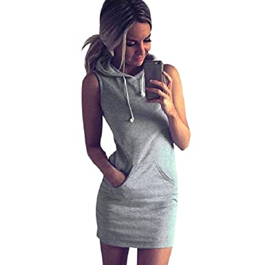 0e22ef8a492 Amazon.com  TOPUNDER Women Clothing 2018 Fashion Womens Summer Casual Sleeveless  Dress Hoody by Topunder  Clothing