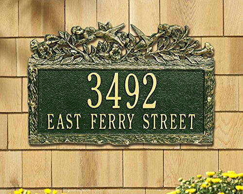 Whitehall 2 Lines Custom Woodland Hummingbird Standard Wall Address Plaque (15.5 inches Wide by 10 inches ()