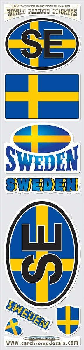 Sweden 8 Stickers Set Swedish Flag Decal Bumper stiker car Bike Laptop