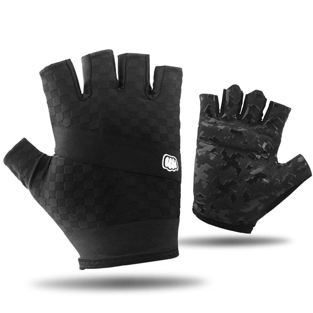 SUPOW耐衝撃指なしJelパッド入りサイクリンググローブRoad Racing自転車グローブユニセックス手袋半指手袋ミトンマイクロファイバーグローブ B073XDD9YY 1 Black-L 1 Black-L