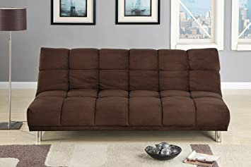 Adjustable Futon Sofa Bed In Chocolate Microfiber Plush
