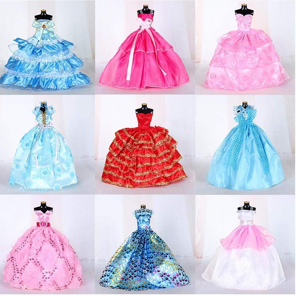 TOPofly 5 PCS Hecho a Mano de la Novedad Banquete de Boda de los Vestidos de los Vestidos de Ropa para la mu/ñeca Color al Azar//Estilo
