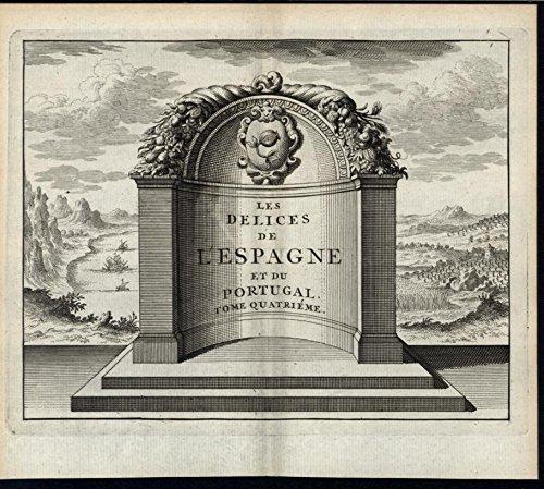 Frontis Piece Exquisite Stone Alcove Spain Landscape 1715 antique engraved print