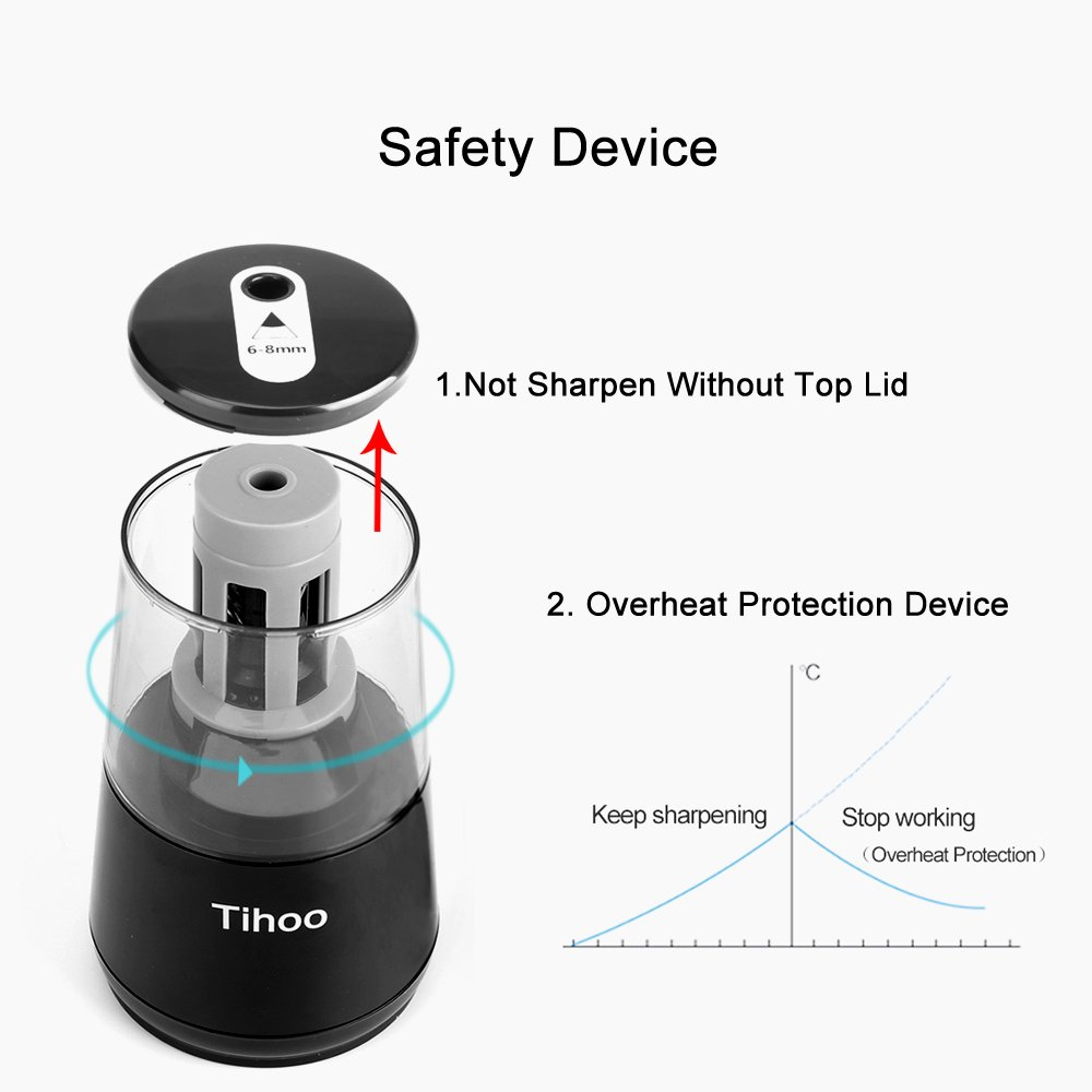 Tihoo Electric Pencil Sharpener with Safety Device, Fast Sharpen and Auto Stop for Regular and Colored Pencils, USB or AC or AA Battery Operated for Office, School, Home (Black) by Tihoo (Image #4)