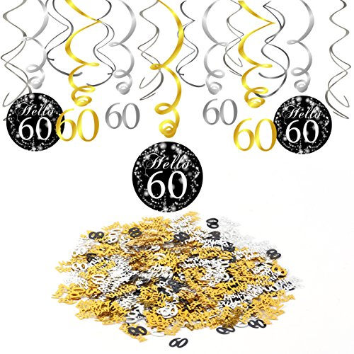Konsait 60th Birthday Decoration Hanging Swirl 15 Counts Happy