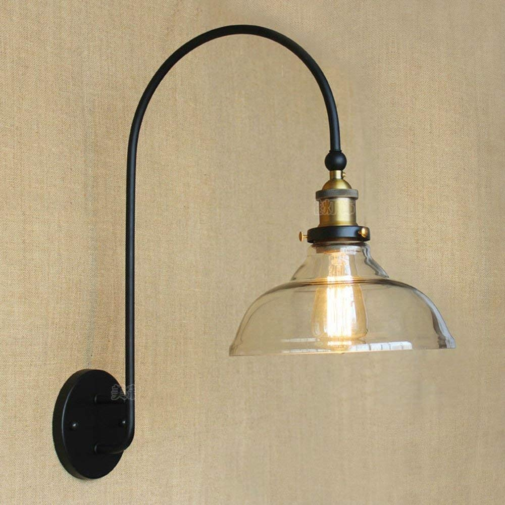 WHKHY North District Simply Retro Iron Cover Glass Wall Lamp CafÉ Restaurant The Patient Bed Nostalgic Wall Lamp Door